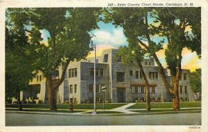 Carlsbad New Mexico~Summer Trees~Spanish Pueblo Eddy Co Courthouse 1940 Postcard