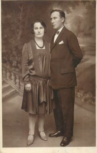 Postcard Social history woman portrait and husband