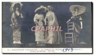 Old Postcard Paris Fashion Silhouettes Tanagras sewing machines Brunswick Wed...