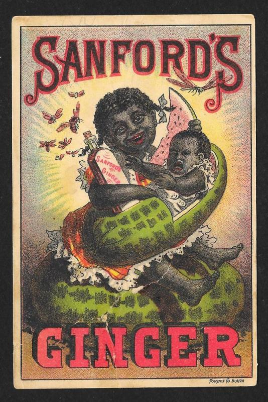 VICTORIAN TRADE CARD Sanford's Ginger Black Girl Watermelon