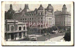 Old Postcard Buenos Aires Plaza Mayo Y Municipalidad