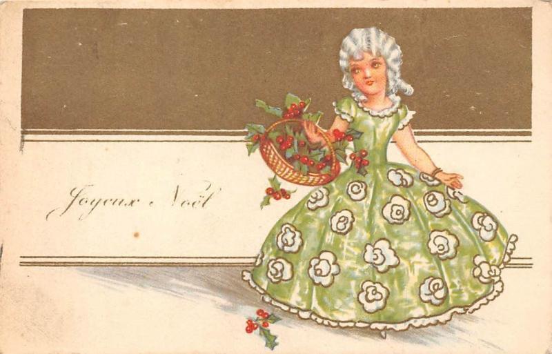 foto de Joyeux Noel! Christmas! Mistletoes Basket, Vintage Hairstyle Dress ...