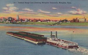 Federal Barge Line Entering Memphis Terminals Memphis Tennessee Curteich