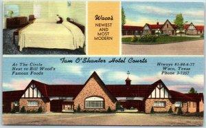 Waco, Texas Postcard TAM O'SHANTER HOTEL COURTS Highway 81 Roadside Linen 1950s