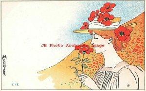 4 Postcards Set, Henri Meunier, Four Seasons-Le Printemps-Ete-Automne-Hiver