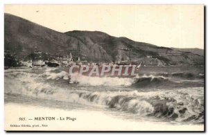 Menton - The Beach - Boat - Old Postcard