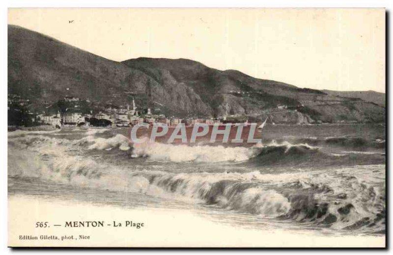 Menton - The Beach - Boat - Old Postcard