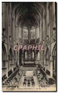 Old Postcard Caen L & # 39Eglise Saint Pierre La nave
