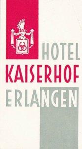 Germany Erlangen Hotel Kaiserhof Vintage Luggage Label sk3135
