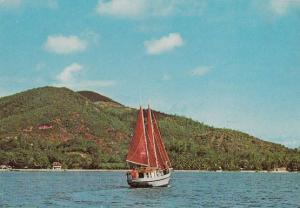 Schooner Boat on Seychelles Praslin Island Postcard