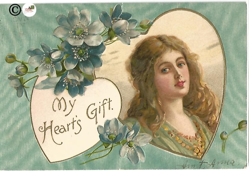 Blue Rose on Blue Background Heart with Victorian Woman Vintage Valentine's Day