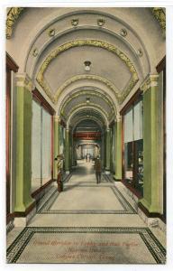 Grand Corridor Lobby Neuces Hotel Corpus Christi Texas 1910c postcard