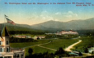 NH - Bretton Woods. Mt. Pleasant Hotel View to Mt Washington & Hotel
