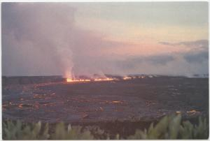 Eruption burst, from far wall of Kilauea Crater, July 19, 1974, unused Postcard