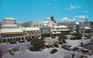 HAMILTON, Bermuda, 1940-1960's; Front Street, Musical Hall, Classic Cars