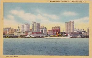 Florida Jacksonville Water Front and Skyline 1949 Curteich