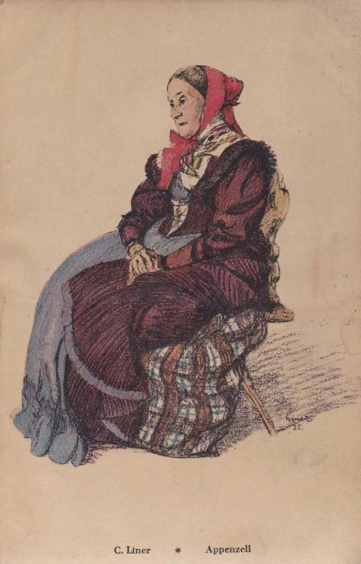 Old Lady Sitting Down On A Chair, C. Liner, Appenzell, Switzerland, 00-10s