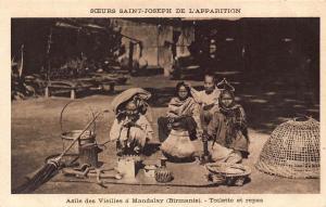 Burma Myanmar Natives at Asylum Mandalay Postcard
