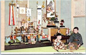 JAPAN Postcard Decoration on the Boys' Festival Day Boys & Shrine NYK Line