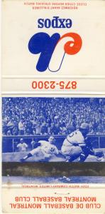 1972 Montreal Expos Matchcover, With Home Schedule Inside