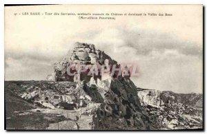 Old Postcard Les Baux called Saracen Tower sentinel Advanced du Chateau overl...