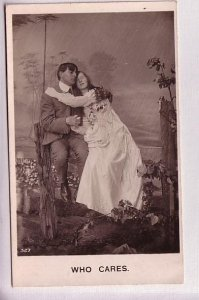 Real Photo, Couple in Love, 'Who Cares', Vintage Romance, Bamforth