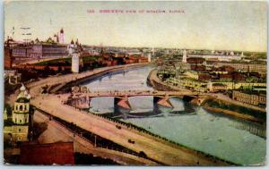 Moscow Russia Vintage Postcard Bird's-Eye View Moskva River & Bridge 1911 Cancel