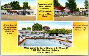 New Orleans, Louisiana Postcard AVALON MOTOR HOTEL Highway 90 Roadside c1950s