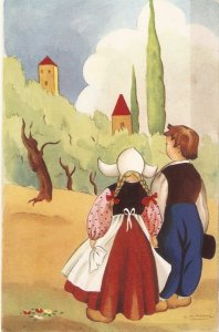 Children couple in fantasy land Lot of two (2) vintage cards. Artist signed