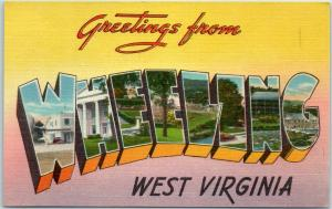 Vintage WHEELING West Virginia Large Letter Postcard Tichnor Linen c1950s Unused