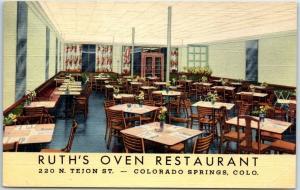 Colorado Springs CO Postcard RUTH'S OVEN RESTAURANT Interior Linen c1940s Unused