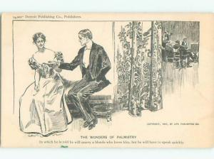 1907 Slight Risque Interest PALMISTRY - PRETTY GIRL READING PALM OF MAN AB7348