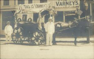 Varney's Parade Advertising Wagon Men American Flags SOMERSWORTH NH? RPPC