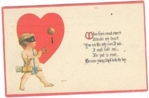 Valentine Greetings, Cupid & A Red Heart, PU-1914