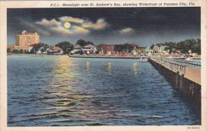 Florida Panama City Moonlight Over St Andrew's Bay Curteich