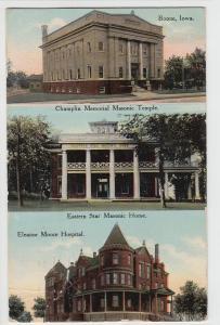 1911 BOONE Iowa Ia Postcard 3-View MASONIC TEMPLE Home Moore Hospital