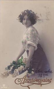 RP; Hand-colored & detailed, Anniversain, Woman wearing flower printed blouse...