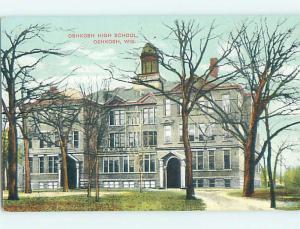 Unused Divided-Back HIGH SCHOOL Oshkosh Wisconsin WI k0209