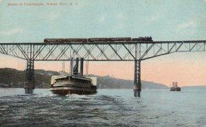 POUGHKEEPSIE, New York, 1900-1910s; Bridge, Hudson River, Train, Ships
