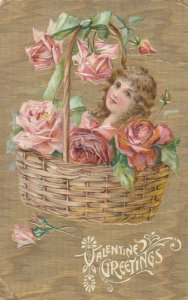 VALENTINE, PU-1909; Greetings, Face of girl in basket of pink and red roses