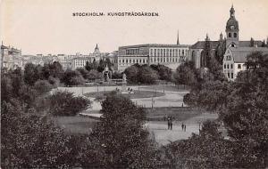 Sweden Old Vintage Antique Post Card Kungstradgarden Stockholm Unused