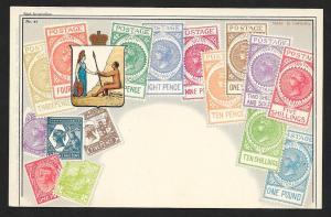SOUTH AUSTRALIA Stamps on Postcard Unused c1910s
