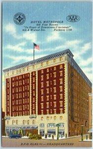 Cincinnati, Ohio Postcard HOTEL METROPOLE B.P.O.Elks #5 Headquarters Linen