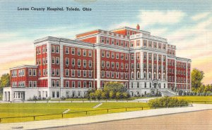 Lucas County Hospital, Toledo, Ohio, Early Linen Postcard, Unused