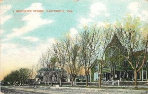 Vintage Postcard A residence Street Hartington NE Nebraska Cedar County