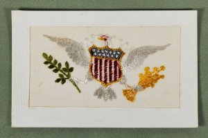 WWI Silk Embroidered American Eagle Grear Seal Olive Branch Arrows Postcard M10