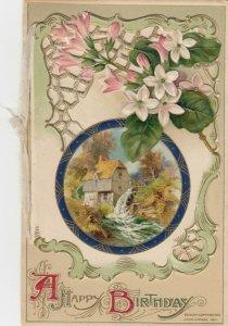 WINSCH BIRTHDAY Booklet  , 1911 ; Flowers & mill, ship inside
