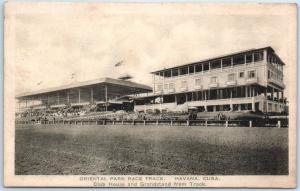 Havana, Cuba Postcard ORIENTAL PARK RACE TRACK Horse Racing Grandstand c1930s