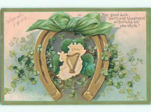 Pre-Linen st. patrick MAP OF IRELAND IN LUCKY HORSESHOE WITH GREEN RIBBON W7008