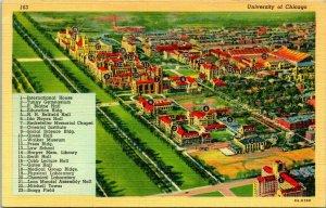 Vtg Linen Postcard Chicago Illinois IL University of chicago Aerial Map w Key